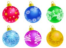 Set Of Christmas Balls - White Background Stock Photography