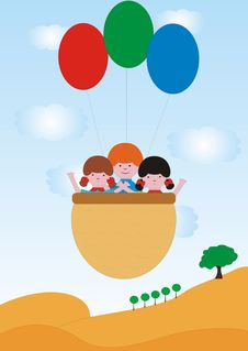 Free Children Flies With Balloons Royalty Free Stock Photography - 4496767