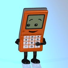 Free Cartoon Cell Phone With Cute And Funny Emotional F Royalty Free Stock Photos - 4497158