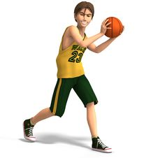 Free Young Man Plays Basketball Royalty Free Stock Photo - 4497215