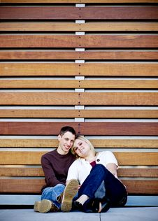 Young Couple In Slats Royalty Free Stock Image