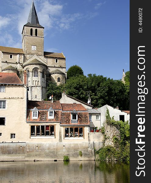 Medieval Riverside Village in France