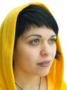 Free The Brunette In A Yellow Hood Stock Image - 450901