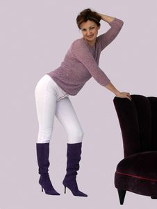 Free Woman And A Purple Chair Royalty Free Stock Images - 450649