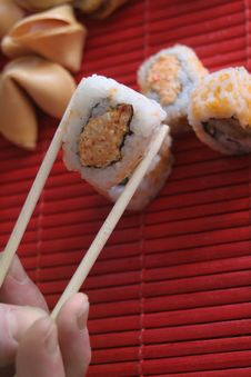 Free Sushi And Chopsticks Royalty Free Stock Photography - 4500067