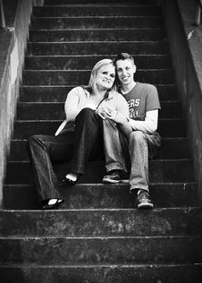 Young Couple On City Stairs Stock Photos