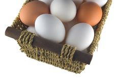 Free Isolated Straw Basket With Eggs Stock Photo - 4500140