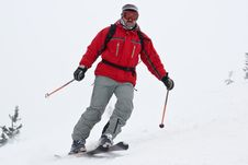 Free Alpine Skier Close-up In The Move Stock Photography - 4501352