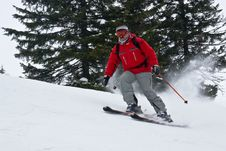 Free Skier Moving Down Hill At High Speed Stock Photo - 4501370