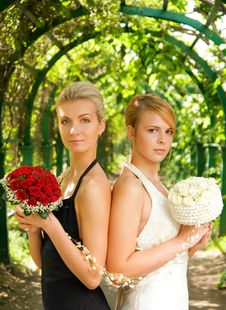 Two Girls With A Flowers Royalty Free Stock Photos