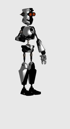 Robot With Labtop Royalty Free Stock Photos