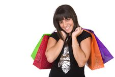 Free Young Woman With A Few Shopping Bags Stock Images - 4507024