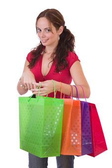 Free Young Woman With A Few Shopping Bags Royalty Free Stock Images - 4507219
