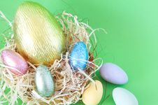 Free Chocolate Easter Eggs In Straw Royalty Free Stock Photography - 4507357