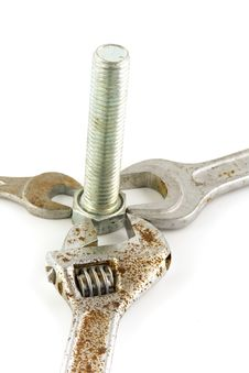 Free Screw And Rusty Wrench Stock Photo - 4509010