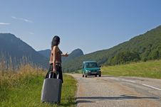 Free Woman Making Of Hitch-hiking Stock Image - 4509201