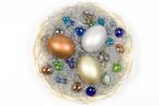 Gold, Silver And Bronze Eggs Royalty Free Stock Photo