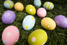 Free Easter Eggs On Grass Royalty Free Stock Image - 4509936