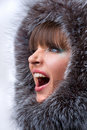 Free Beautiful, Shouting Young Woman With A Fur Hood Stock Photos - 4511443
