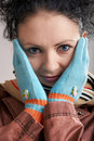 Free A Girl In Blue Gloves Royalty Free Stock Image - 4512106