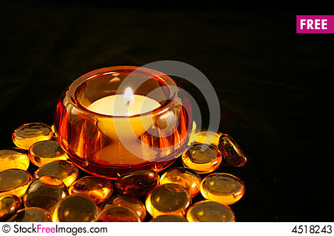 Candle in Amber Holder with Beads Cartoon Illustration