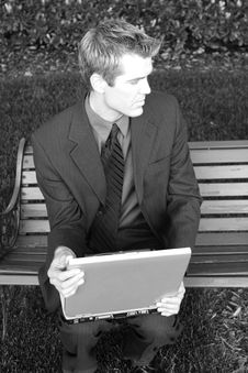 Free Businessman With Laptop Stock Photo - 4510260