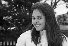 Free Girl Smiling Outdoors Black And White Royalty Free Stock Photos - 4510798