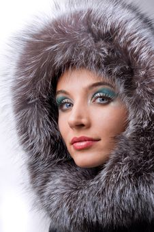 Beautiful Young Woman With A Fur Hood Stock Images