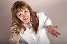 Free A Girl With Alarm-clock Royalty Free Stock Image - 4512156