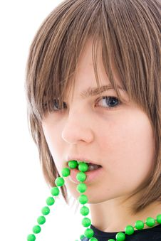 Free The Young Beautiful Girl With A Beads Isolated Royalty Free Stock Image - 4512486