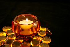 Free Candle In Amber Holder With Beads Stock Photos - 4518243