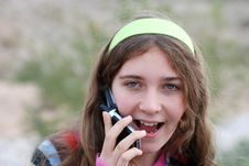 Free Young Girl And Cellphone Stock Photos - 4520133