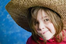 Free Little Girl With A Straw Hat Royalty Free Stock Images - 4520489