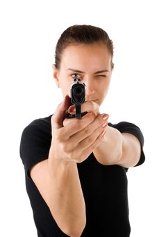 Free Girl With Gun. Stock Image - 4522831