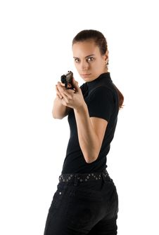Free Girl With Gun. Royalty Free Stock Photography - 4522837