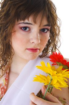 Free Beautiful Girl With Flowers Royalty Free Stock Images - 4524589