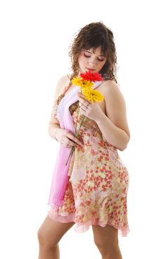 Free Beautiful Girl With Flowers Stock Images - 4524854