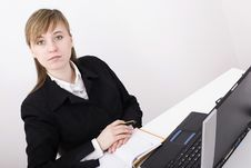 Free Woman Working On The Laptop Royalty Free Stock Image - 4525136