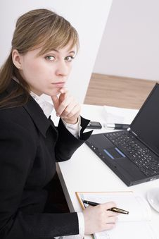 Free Woman Working On The Laptop Stock Photography - 4525262