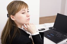 Free Woman Working On The Laptop Stock Image - 4525401