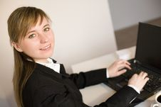 Free Woman Working On The Laptop Royalty Free Stock Image - 4525876