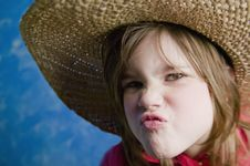 Free Little Girl With A Straw Hat Royalty Free Stock Photography - 4527797