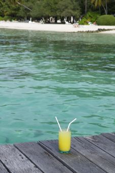 Cocktail On The Jetty Stock Images