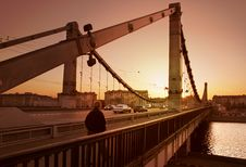 Free Solitary Man On Bridge Royalty Free Stock Images - 4528989