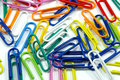 Free Close View Of Milti-colored Paper Clips Royalty Free Stock Image - 4536516