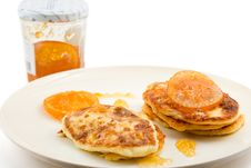 Free Small Cottage Pancakes With Orange Jam Stock Photography - 4531102