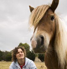 Girl And Pony Stock Image
