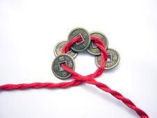 Free Five Chinese Ancient Coins Chained With A Red Cord Stock Images - 4532464