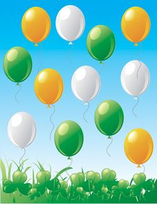 Free St.Patrick S Day Balloons And Clovers. Royalty Free Stock Photos - 4534468
