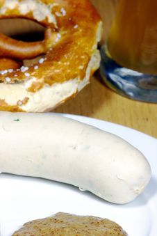 Traditional Bavarian White Sausage And Bretzel Royalty Free Stock Images